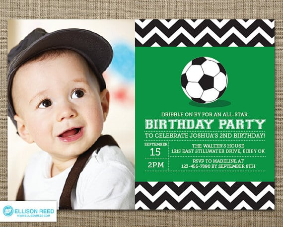 First Birthday Invitations Soccer