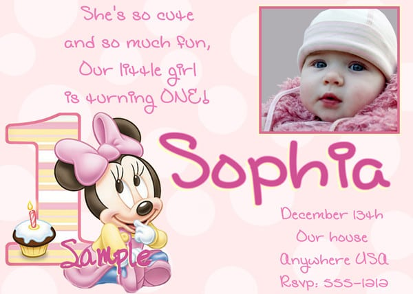 First Birthday Party Invitation For Baby Girl