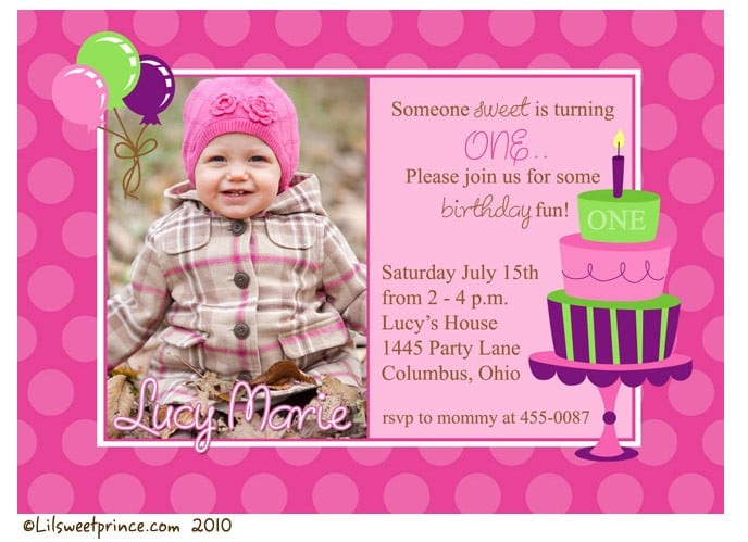 First Birthday Party Invitations For Girls