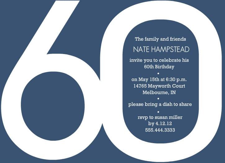 Free 60th Birthday Invitation Templates  Free Birthday Invite Template