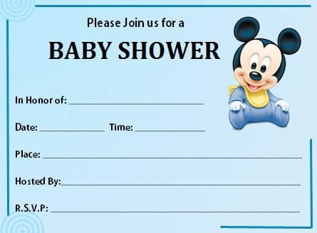 Free Baby Mickey Invitation Template
