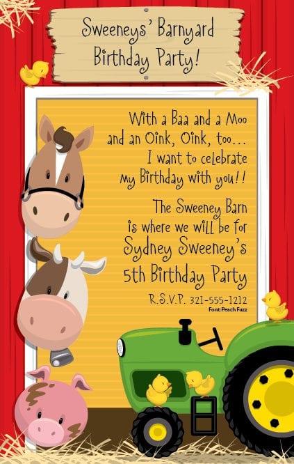 Barnyard Party Invitation Templates