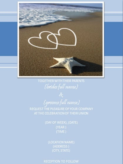 Free Beach Wedding Invitation Template
