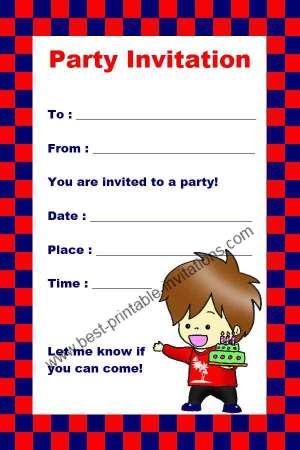 Free Birthday Invitation For Boys