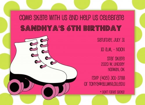 Free Birthday Invitations Roller Skating Party
