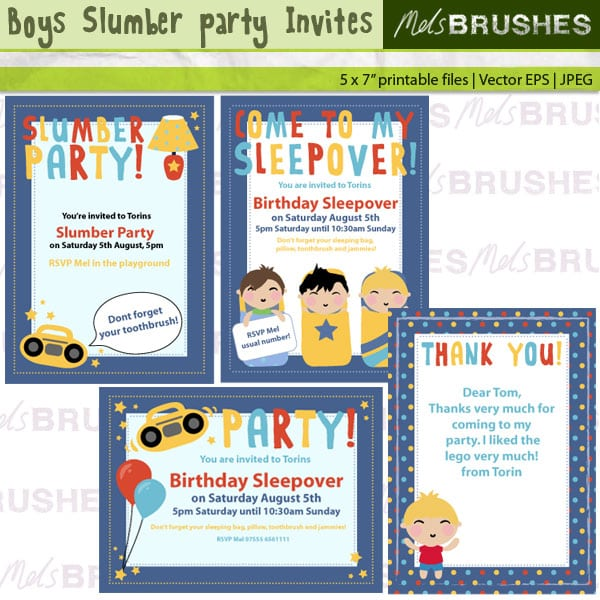 Free Boys Sleepover Printable Invitations