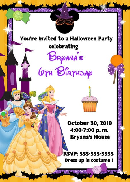 Free Disney Halloween Birthday Party Invites