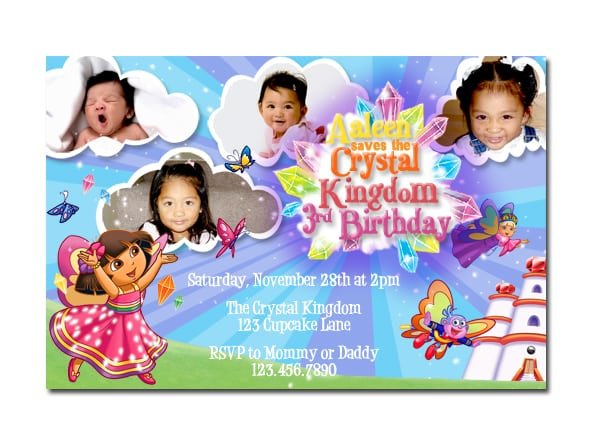 Free Doras 7th Birthday Invitations