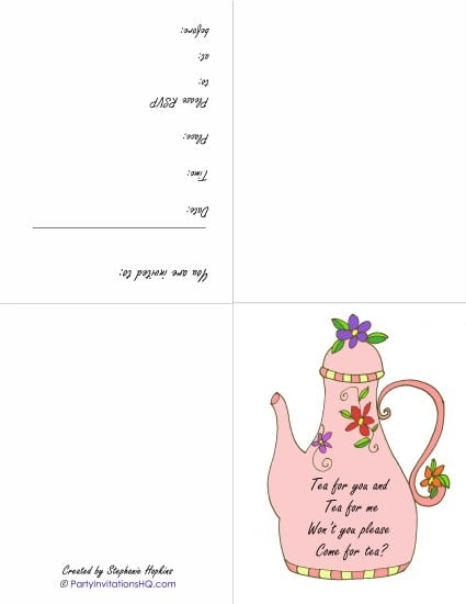 downloadable tea party invites, Birthday invitations
