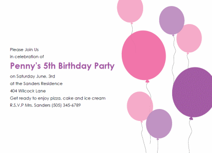 Free Kids Birthday Invitation Template