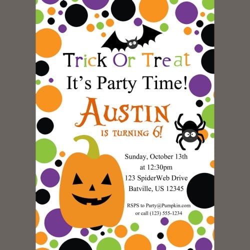 Free Kids Halloween Birthday Invitations