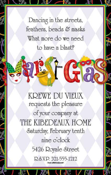 Free Mardi Gras Birthday Invitations Template