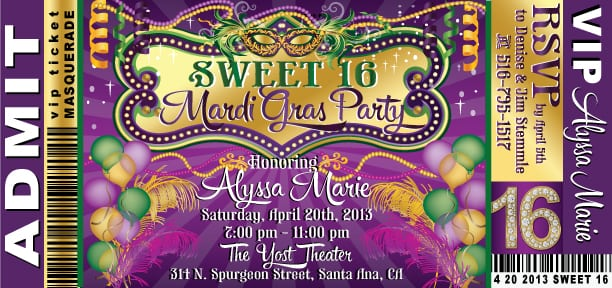 Free Mardi Gras Ticket Invitations
