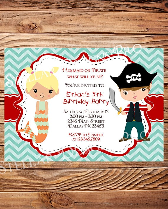 Free Mermaid And Pirate Party Invitations