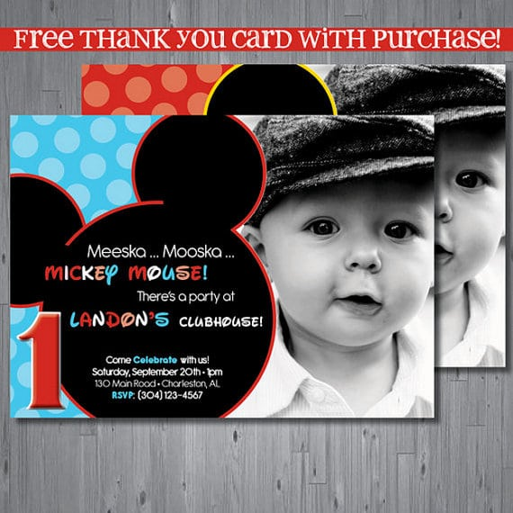 Free Mickey Mouse Clubhouse 1st Birthday Invintation Printable