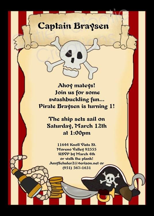 Pirate birthday party invitations templates - photo#16