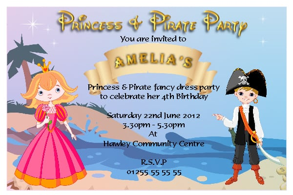 Free Princess And Pirate Invitation Templates