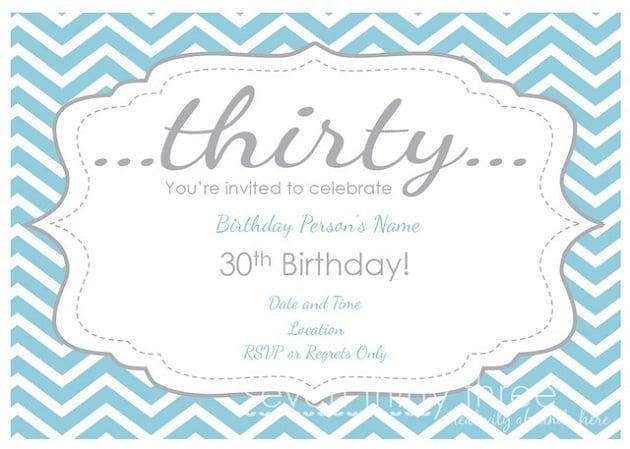 Free Printable 30th Birthday Party Invitation Templates