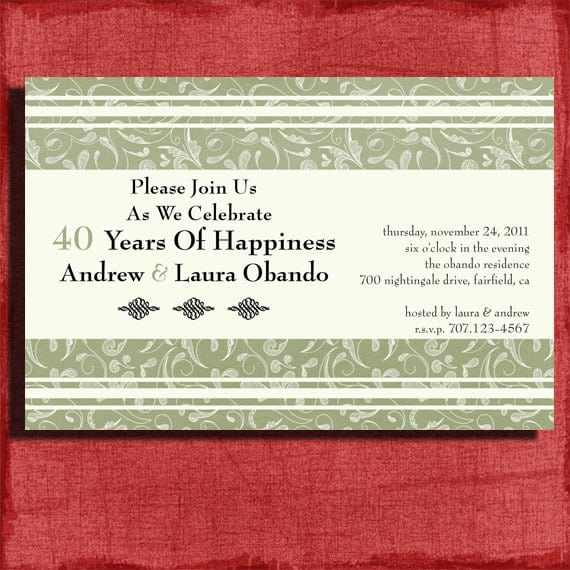 Free Printable 40th Anniversary Invitation Templates