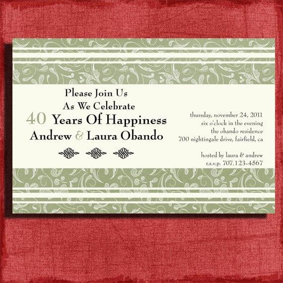 Free Printable 40th Anniversary Invitation Templates