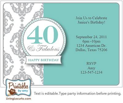 Free Printable 40th Birthday Party Invitations