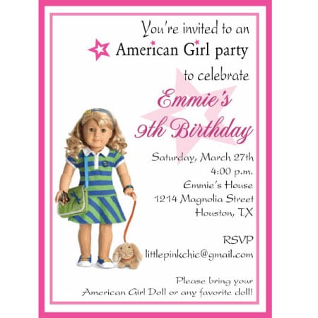 Free Printable American Girl Birthday Invitations
