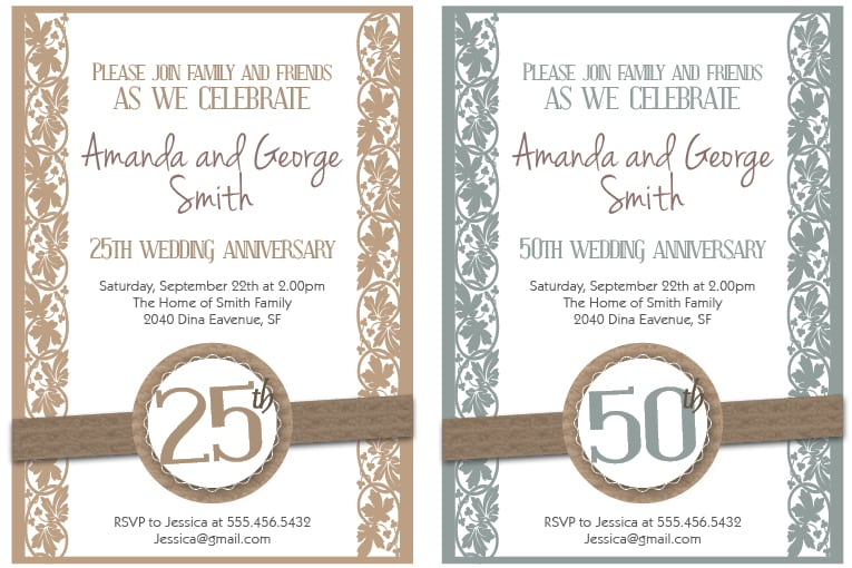 Golden Wedding Party Invitations 12 Sample Photos 50th Wedding – Print Your Own Anniversary Card