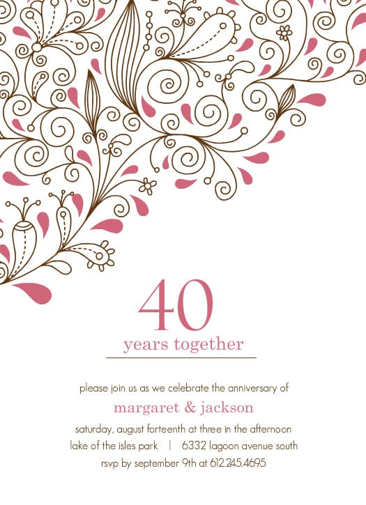 Free Printable Anniversary Party Invitation Templates