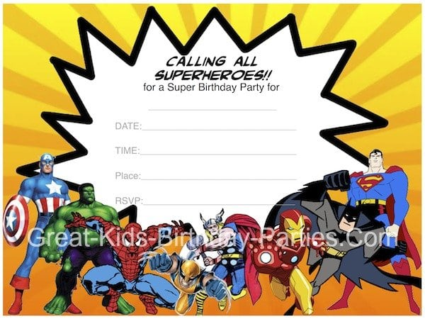 Free Printable Avengers Party Invitations