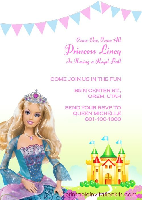 Free Printable Barbie Invitations Birthday