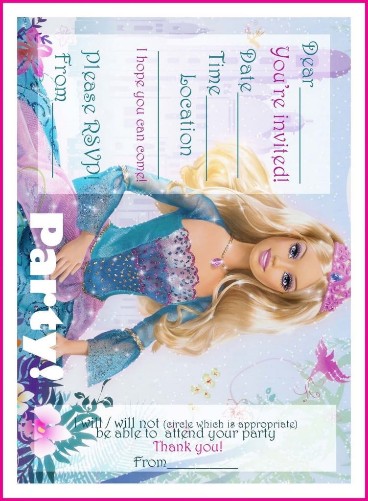 Free Printable Barbie Party Invitations