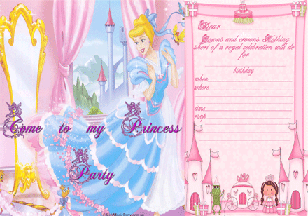 Free Printable Birthday Party Invitations Princess