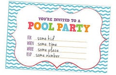 Free Printable Birthday Pool Party Invitation Templates