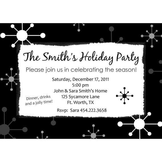 Free Printable Black And White Christmas Party Invitations