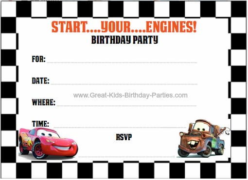 Free Printable Cars Birthday Invitation Cards
