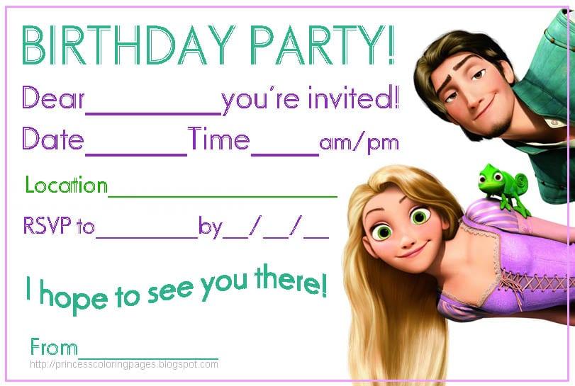 Free Printable Disney Tangled Invitations