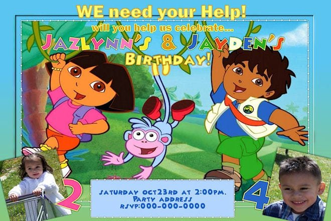 Free Printable Dora And Diego Birthday Invitations