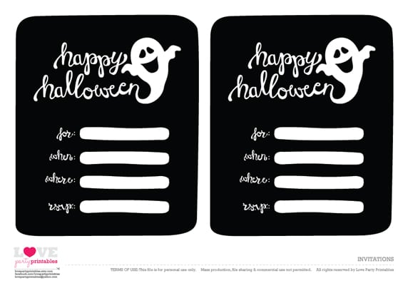 Free Printable Halloween Ticket Invitations