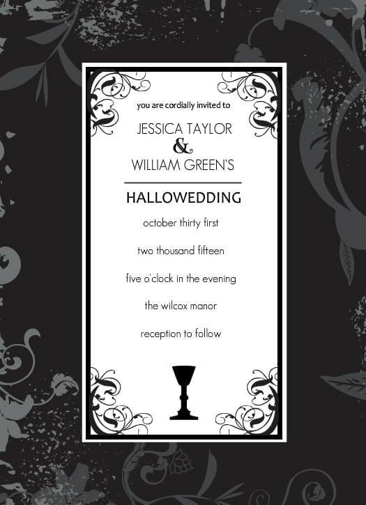 Free Printable Halloween Wedding Invitation Templates