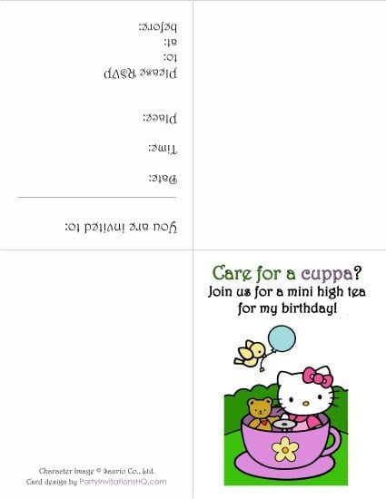 Free Printable Hello Kitty Invitation Templates