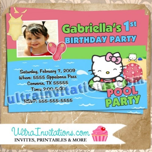 Free Printable Hello Kitty Pool Party Invitations