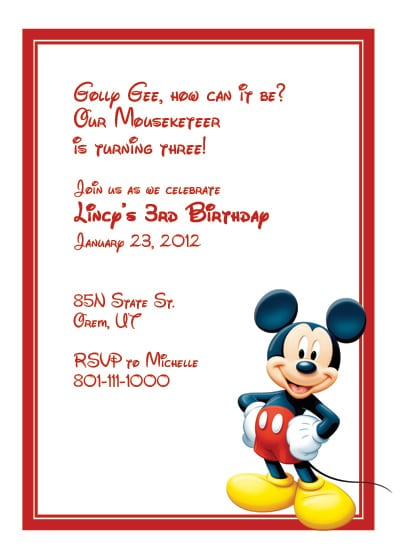 Free Printable Mickey Mouse Birthday Invitation Templates