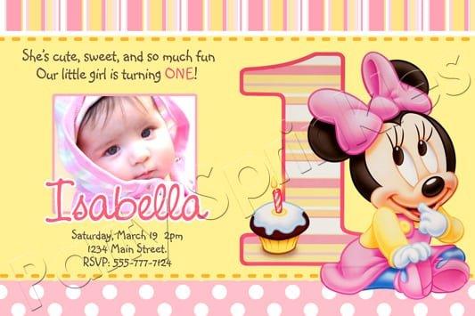 Free Printable Minnie Mouse 1st Birthday Invitations