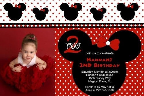 Free Printable Minnie Mouse Birthday Invitation Templates
