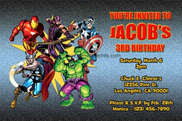 Free Printable Party Invitations The Avengers