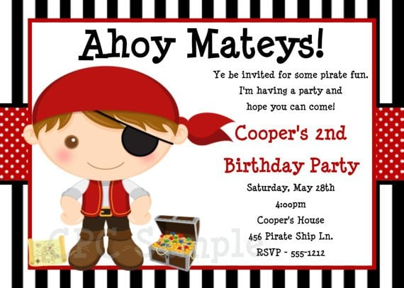 Free Printable Pirate Birthday Invitations For Kids