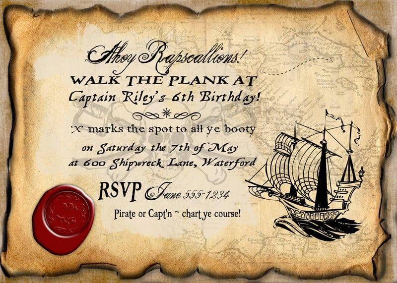 Pirate birthday party invitations templates - photo#10