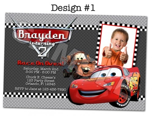 Free Printable Pixar Cars Birthday Invitations