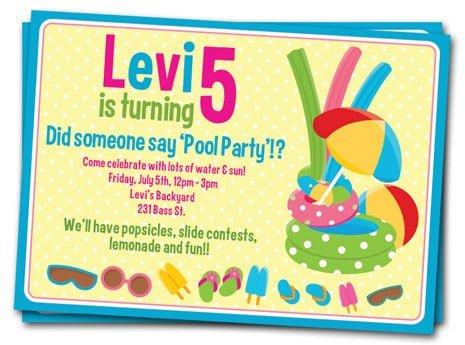 Free Printable Pool Birthday Invitations For Girls