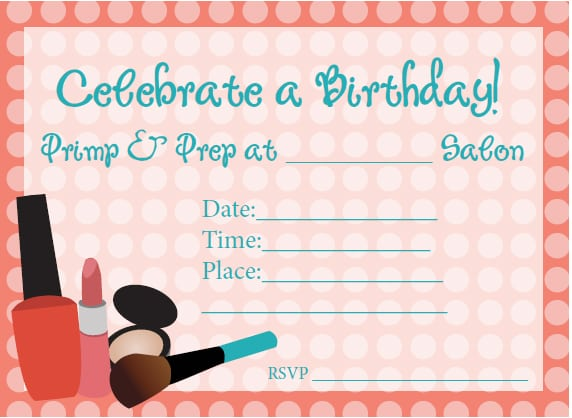 Free Printable Spa Birthday Invitations For Girls